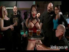 Genial movie category blowjob (308 sec). Breasty waitress punished.